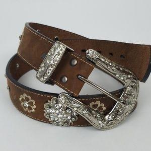 Ariat leather studded embellished belt w/flaw